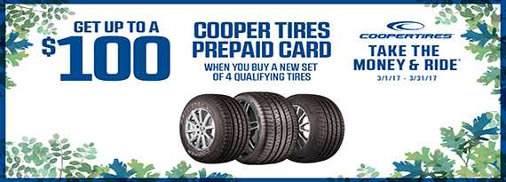 Cooper Tire Reward - Up to $100